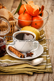 Black coffee and tangerines