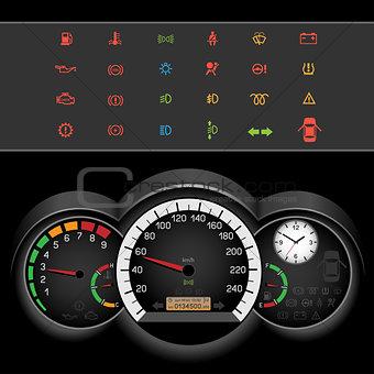 car speedometer night panel