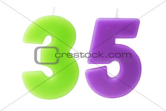 35th birthday candles isolated