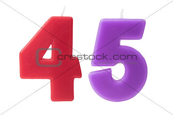 45th birthday candles isolated