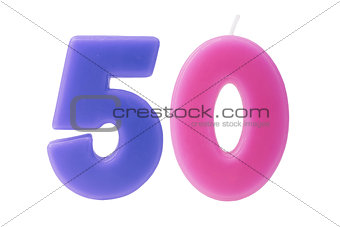50th birthday candles isolated