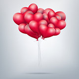 Flying bunch of red balloon hearts. EPS 10