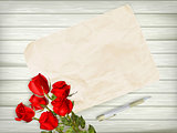 Roses on wooden background. EPS 10