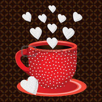 Cup coffee sweets heart shaped sugar cubes