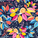 seamless pattern of colored leaves and snails