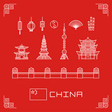 vector illustration set china buildings pagoda, lantern, flag, fan, flat line design