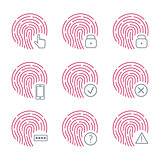 Fingerprint scanner icons on white background. Vector illustration.