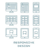 Line icons set flat design responsive web development service, website webpage user interface on different devices. Modern vector pictogram collection.