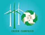 green campaign with electricity plug and wind turbine vector
