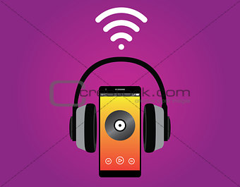 smartphone with headphone listening music use wifi signal vector