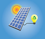solar panel isolated with sun and light bulb vector
