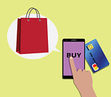 Online shopping concept using mobile devices smartphone and shooping bags