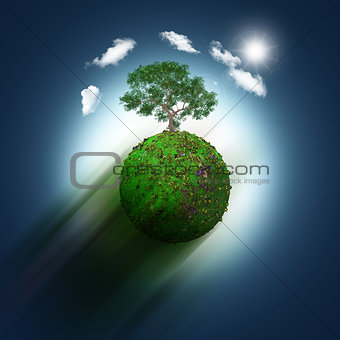 3D grassy globe with trees on a blue sky background