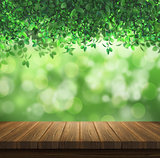 Wooden deck on a green leaves background