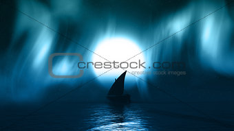 3D yacht on sea with aurelia borealis in the sky