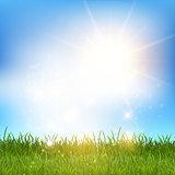 Blue sky and grass landscape