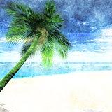 Watercolor palm tree on beach