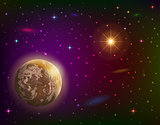 Space background with planet and sun