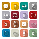 Icons clock, vector illustration.