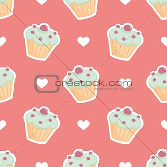 Tile vector pattern with cupcake and hearts on pink background
