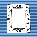 Vector frame on blue stripes background