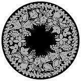 Laurel wreath dark vector frame isolated on white background