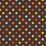 Tile vector pattern with colorful polka dots on dark brown background