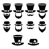 Leprechaun character for St Patrick's Day in Ireland - black icons set