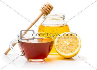 Black tea, honey and  lemon