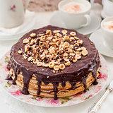 Chocolate and Hazelnut Crepe Cake