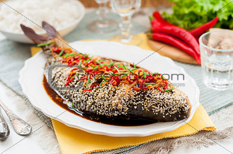 Asian Style Baked Fish With Chili, Ginger and Soy Sauce Dressing