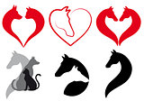 Cat, dog, horse heart, vector set