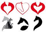 Cat, dog, horse heart, vector set