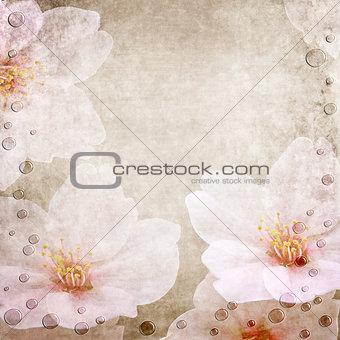 Floral paper wedding card