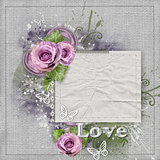 Vintage background with purple  roses, lace, ribbon, butterfly,