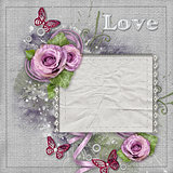 Vintage background with purple  roses, lace, ribbon, paper card