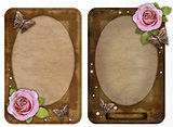 two old-fashioned  paper photo frames with butterfly and rose is