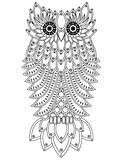 Funny big owl black outline