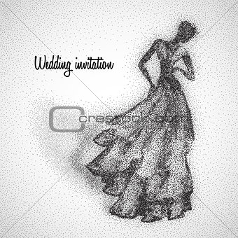 Beautiful bride illustration made from particles