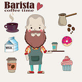 Barista with cup of coffee on a tray