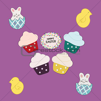 Four Cupcakes  on purple background