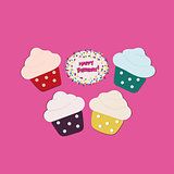 Four Cupcakes  on pink background