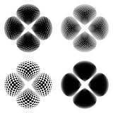 Black vector abstract halftone flowers