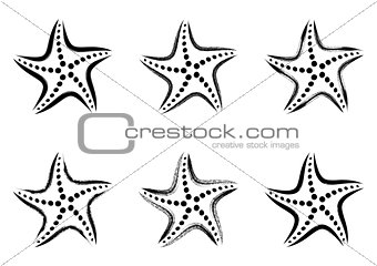 Black vector stylized starfish icons
