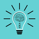 Light bulb with brain illustration