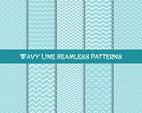 Vector wavy line seamless patterns