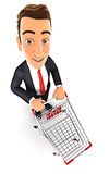 3d businessman empty supermarket trolley