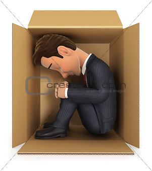 3d businessman inside cardboard box