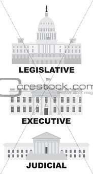 Three Branches of US Government Illustration