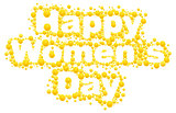 Happy womens day. Yellow mimosa flower. Acacia flower symbol of Womens Day. Lettering text for greeting card